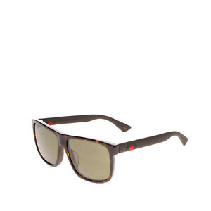 RRP €275 GUCCI Square Sunglasses Tortoiseshell Pattern Web Logo Matte Temples