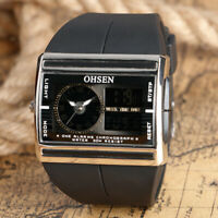 OHSEN Men Quartz Wrist Watch Rubber Band 3ATM Water Resistant Military Digital
