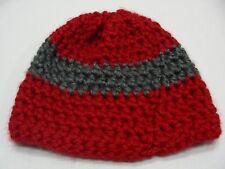 Rouge & Gris - Main Tricoté - Taille Unique Bas Casquette Bonnet