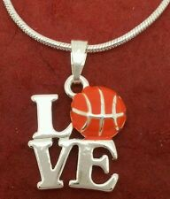 8 x I Love Basketball Necklaces Silver Plated Enameled Great team gift