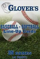 Glovers Baseball Softball LINE-UP CARDS 35 Games 4 Parts Lineup 5.5x 8.5 BB-103