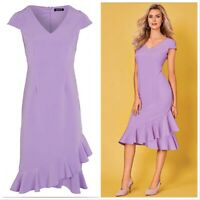 Kaleidoscope Lilac Short Sleeve Frill Hem Dress Women Ladies Midi Dress
