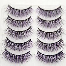 5Pairs Unique Black&Purple Thick Cross False Eyelashes Long Lashes Makeup Tools