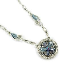 NEW SWEET ROMANCE OCEAN FLOWER SPARKLING CRYSTAL NECKLACE ~~ MADE IN USA~~