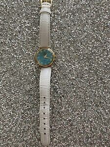 14k gold watch women used- White Leather Band