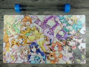 PM Playmat Anime Girl Custom TCG PTCG Eevee Girls Duel Mat Free Best Tube