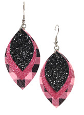 Pink Buffalo Plaid / Pink & Black Glitter Faux Leather Earrings Triple Layer