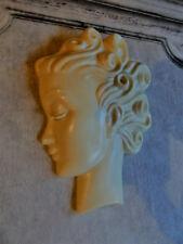Art Deco hanging Wall Mask cream resin