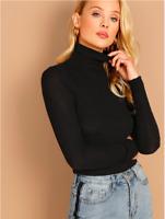 Black Turtle Neck Rib Knit Solid Pullover Basic Slim Fit T-Shirt Top Sz XS S M L