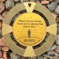 """Beam Me Up, No Geocaches Here! (2.5"""" GeoMedal Geocoin, Ant. Gold Colour)"""