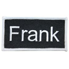 """Frank"" Name Tag Uniform Identification Badge Embroidered Iron On Applique Patch"