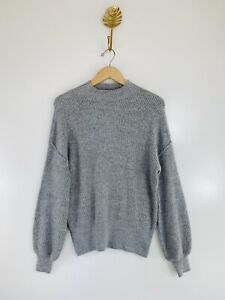 Popsugar Small Gray Dolman Sleeve Balloon Sleeve Pullover Knit Sweater