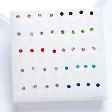 20 Pairs/pack 2017 Cute Korean Rhinestone Crystal Piercing Stud Earrings Blue