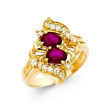 CZ Cluster Cocktail Ring Solid 14k Yellow Gold Fashion Band Red CZ Oval Fancy