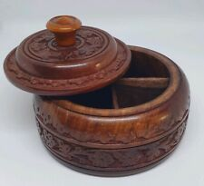 Wooden Carved Round Spice Box with 4 Masala Compartments
