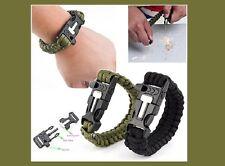 Survival Bracelet avec feu pierre pipe grattoir paracord MILITARY vert