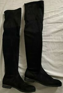 Bershka stretchy faux suede flat & comfortable casual over the knee high boots 6