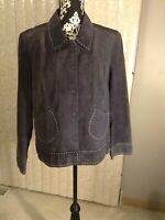 Womens Bamboo Traders Dark Blue Suede Leather Jacket W/White Stitching Size XL