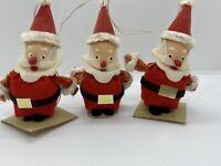Vintage Felt Santa Mid Century Paper Mache Ornaments Old
