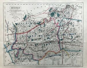 1836 (1865) Antique Fox-Hunting Map of Surrey - J & C. Walker
