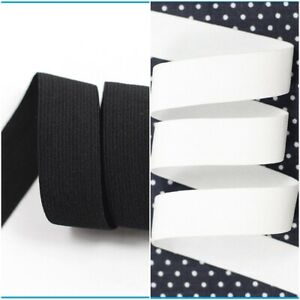 Black White Flat Woven Stretch Elastic Waist Bands Cuff Tailoring Sewing