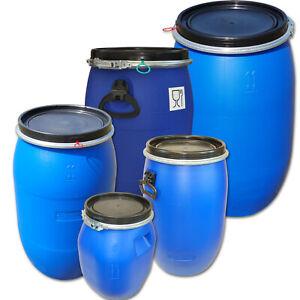 Deckelfass Regentonne Wasserfass 30-220 Liter Plastik Kunststoff UN-Zulassung