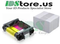 Evolis Badgy200 CBGR0100C YMCKO Color Ribbon 100 prints + 100 Blank PVC Cards