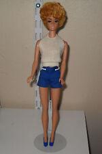 Beautiful Vintage Pale Pink Lipped Blonde Bubble Cut Barbie Doll W/Pak Clothes