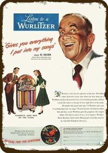 1948 WURLITZER JUKEBOX Vintage Look METAL SIGN - AL JOLSON - MAMMY - BLACK FACE