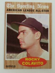 1962 Topps Rocky Colavito #472 Baseball Card. America League All-Star