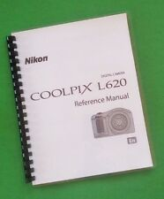 """Laser 8.5X11"""" Nikon L620 Coolpix Ref. Camera 212 Page Owners Manual Guide"""