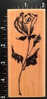 LONG STEM SKETCH ROSE GARDEN FLOWER Penny Black Wood Mounted Rubber Stamp