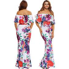 Multi-color floral print off-the-shoulder maxi dress sheath cocktail women cute