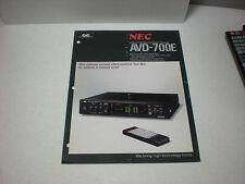 VINTAGE ORIGINAL NEC AVD-700E AUDIO/VIDEO SURROUND SOUND PROCESSOR 1pg BROCHURE
