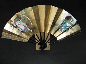 Reversible Higher-quality Gold Fan (Wind & Thunder Gods / Plants)