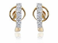 Pave 0,20 Cts Ronde Brillante Couper Diamants Clous Boucles d'oreilles En 18K Or