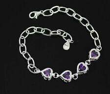 Stunning Purple Amethyst, Solid 925 Sterling Silver Heart Bracelet / Bangle +box