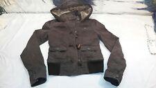 Abercrombie Size XL Fur Lined Brown Double Zipper Button Up Winter Coat Jacket