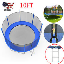 10FT Round Trampoline with Safety Net Enclosure & Ladder for Kids Adults Outdoor
