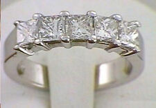 5 Radiant Diamond Anniversary Ring Wedding Band 1.35 carat 18K White Gold, VS