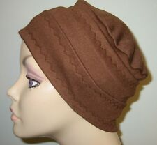 Chemo Hat 3-Band Brown Cancer Hijab Alopecia Hair Loss Yoga Made in USA