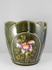 ANCIEN CACHE POT EN FAIENCE FIVES LILLE DE BRUYN 750 N°3 DECOR D'IRIS HAUT 16 CM