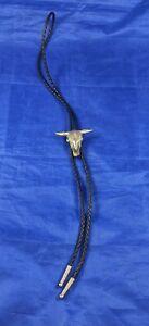 Arroyo Grande Co Bolo Tie Cattle Skull Pewter Slide Braided Leather Necktie READ