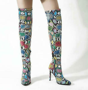 Women's Over The Knee High Boots Pointy Toe Slim Super High Heel Zip Shoes US 12