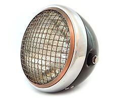 """7"""" Side Mount Motorcycle Headlight w/ Grill - Gloss Black Chrome Bronze - Clear"""