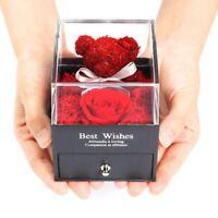 Teddy Bear Rose Jewelry Box Eternal Flower Jewelry Case For Women Valentine Gift