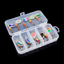 10Pcs Fishing Lure Spinners Spinnerbait Metal Spinner Baits Kit w/ Storage Case