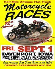 8x10 Vintage Motorcycle Racing Poster PHOTO Advertisement IA Races Retro Decor