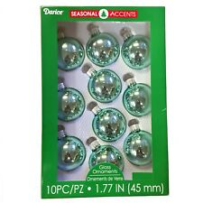 Shiny Aqua Glass Balls Christmas Tree Ornaments Set of 10 45mm 1.75 Inch