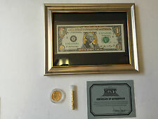 $1 22 K GOLD $1 DOLLAR FRAMED BILL-HOLOGRAM COLORIZED-CRISP NOTE GIFT CURRENCY